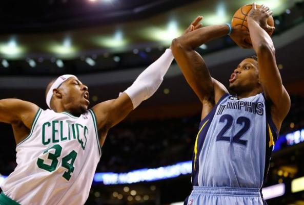 Rudy Gay getting one over Paul Pierce